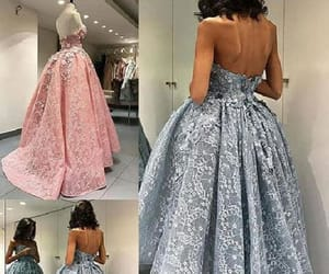 grey prom dress, prom dress ball gown, and prom dress lace image
