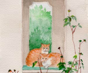 cat, gouache, and orange image