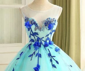 blue prom dress, beautiful prom dress, and ball gown prom dress image