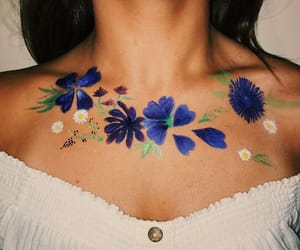 body paint, flores, and flowers image