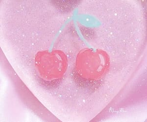 pink, heart, and cherry image