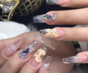long nails, dimonds, and clear nails image