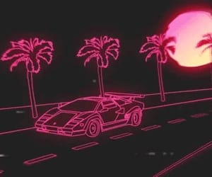 driving, sunset gif, and neon car image