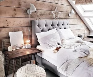 bed, chandelier, and wood image