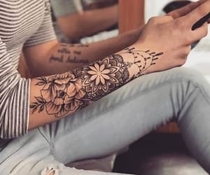 black, flowers, and tattoo image