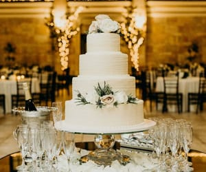 cakes, flowers, and wedding dresses image