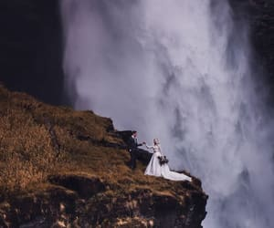 scenery, waterfall, and wedding image