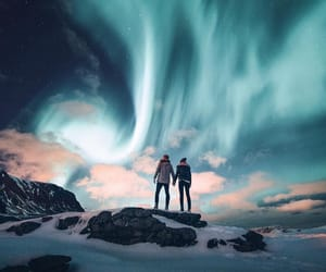 couple, northern lights, and travel image