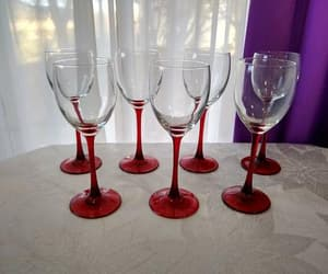 cristal d' arques, etsy, and red stemmed image