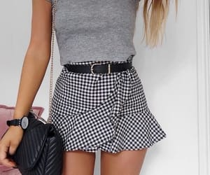 black and white, fashion, and gingham image