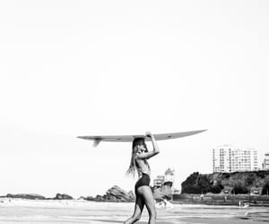 girl, surf, and blackandwhite image