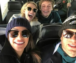 emma roberts, lea michele, and evan peters image