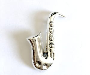 etsy, musical instrument, and jazz sax brooch pin image