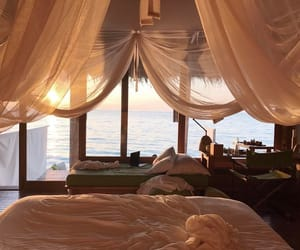 sea, travel, and bedroom image