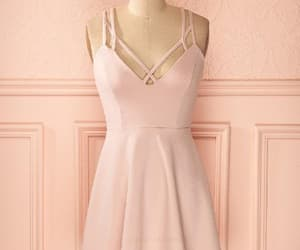 pink homecoming dress, v-neck prom dress, and prom dress a-line image