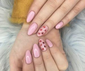 hearts, nails, and pink image