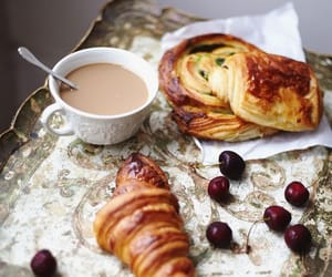 breakfast, coffee, and croissants image