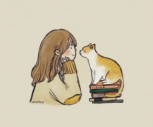 cat, girl, and books image