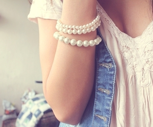 girl, pearls, and white image