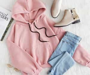 clothes, pink, and sweatshirt image