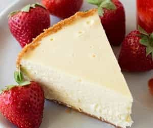 cheesecake, delight, and strawberries image