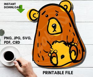 grumpy bear, scribble sketch, and doodle clipart image