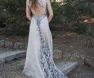 long hair, wedding dress, and train image