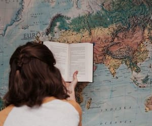 book, girl, and map image