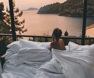 beauty, bed, and sunset image