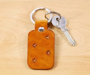boyfriend gift, leather anniversary gift, and stars leather keychain image