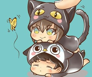 anime, butterfly, and cat image