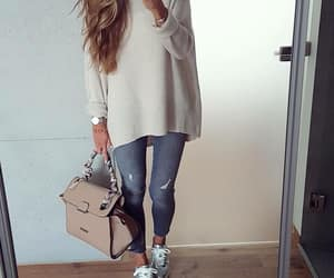 Blanc, denim, and fashion image