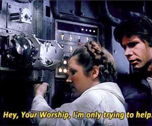 carrie fisher, gif, and harrison ford image