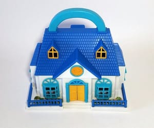 blue, blue and white, and dollhouse image