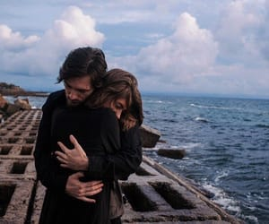 couple, hug, and sea image