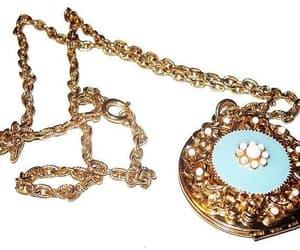 etsy, floral locket, and blue locket image