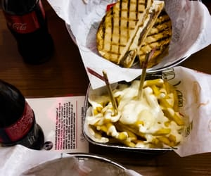 food, cheese, and coca cola image