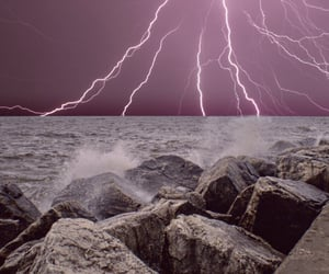 beach, lake, and lightning image