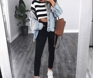fashion, jeans jacket, and stripped top image