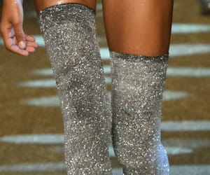 boots, silver, and thigh high boots image