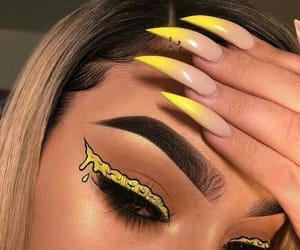 makeup, nails, and yellow image