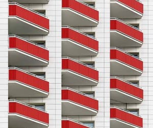 architecture, balconies, and red image