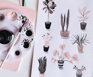 art, pink, and plants image