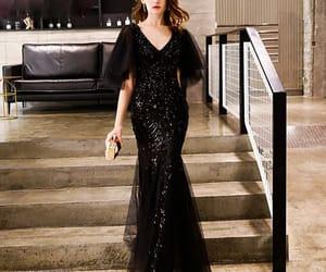 black dress, glitter, and elegant dress image