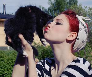bandana, black cat, and lips image