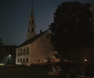 church, new england, and night image