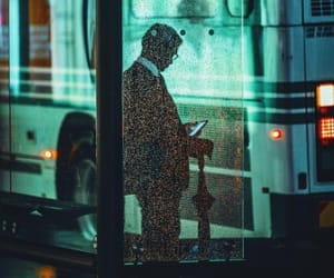 bus stop, night, and nightlife image