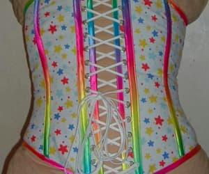 corset, fashion, and rainbow image