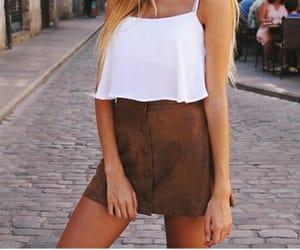 moda, falda, and marrón image