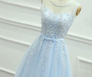 prom dress blue, light blue prom dress, and prom dress with appliques image